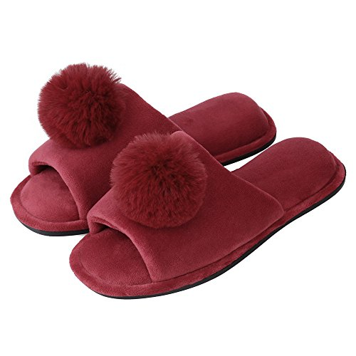 Sibba Womens Open Toe Coral Velvet Spa House Slippers Fuzzy Slides With Anti-Slip Sole Wine pk80yz