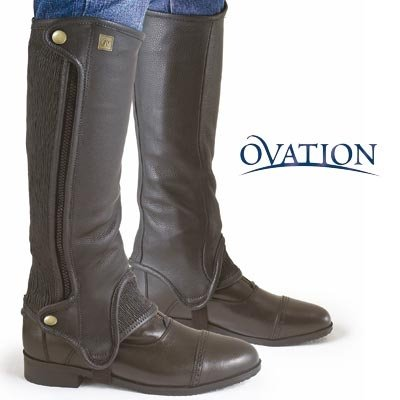 Ovation Precision Fit Black Half Chaps - Calf:17'' Calf Height:16'' Height by Ovation