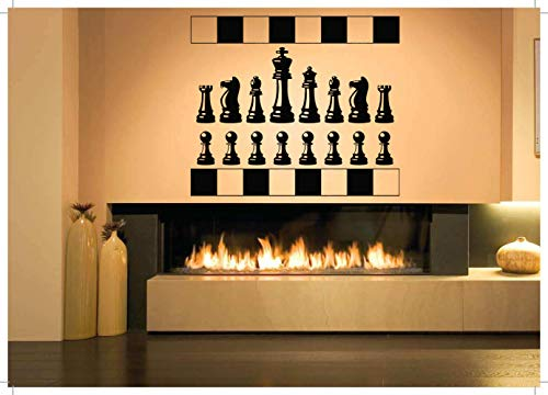 (Vinyl Sticker Chess Figures Pieces Pawn Rook Knight Bishop Queen King Game Checkmate Chessboard Poster Mural Decal Wall Art Decor SA2114)