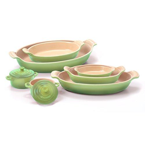 Le Creuset Heritage Palm Stoneware 5 Piece Au Gratin Dish Set with 2 Mini Cocottes