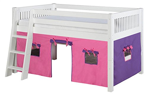 Camaflexi Mission Style Solid Wood Low Loft Bed with Fabric Playhouse, Twin, Side Angled Ladder, White