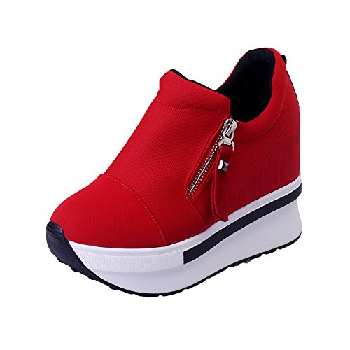 haoricu Sports Shoes Women Wedges Boots Platform Shoes Slip On Ankle Boots Fashion Casual Running Hiking Sneakers (US:7, Red 1)