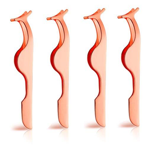 False Eyelashes Applicator Tool - 4 Packs Eyelash Extension Tweezers Remover Clip Nipper (False Eyelashes Tweezer Applicator)- Light & Easy to Wear