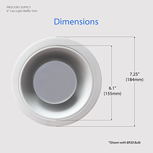 [12-Pack] PROCURU 6'' White Baffle Metal Recessed Can Light Trim - for BR30/38/40, PAR30/38/40 LED, Incandescent, CFL, Halogen (White (12-Pack)) by PROCURU (Image #3)'