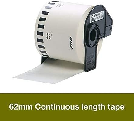 Brother DK22205 - Cinta continua de papel térmico (blanca), Ancho: 62 mm, Ancho: 62 mm, Longitud: 30,48 m, Para impresoras de etiquetas QL