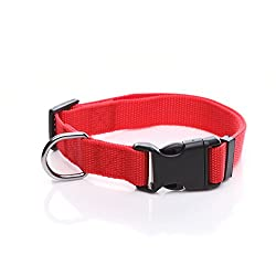 TAIDA Durable Adjustable Nylon Dog Collar, 1 Inch Wide, for Large Medium Dogs
