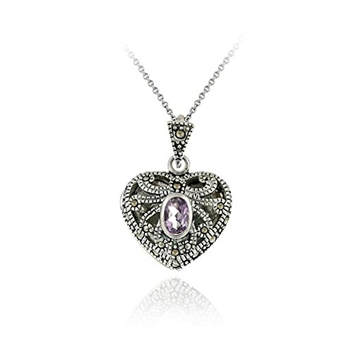 Glitzs Jewels Sterling Silver Amethyst & Marcasite Heart Locket Necklace, 18''