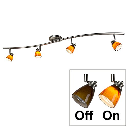 Direct-Lighting 4 Lights Adjustable Track Lighting Kit - Brushed Steel Finish - Amber Glass Track Heads - GU10 Bulbs Included. D268-44C-BS-AMS Light Canopy Track