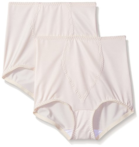 Hanes Shapewear Women's Light Control 2 Pack Tummy Control Brief, Beige/Beige, Large