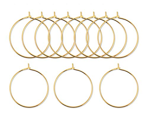 Wine Ace - ACE SELECT Wine Glass Charms Rings Set of 300 Wire Hoop Beading Hoop for Glasses, Jewelry Making (Gold)