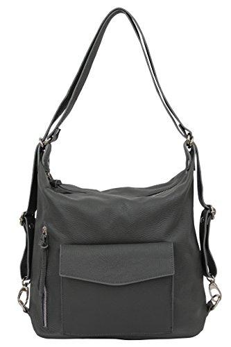 AMBRA Moda - Bolso mochila de Piel para mujer X-Large gris oscuro