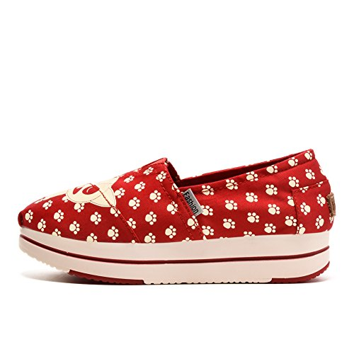 Tiosebon Kvinna Duk Slip-on Toning Sko Walking Sneaker 6215 Red