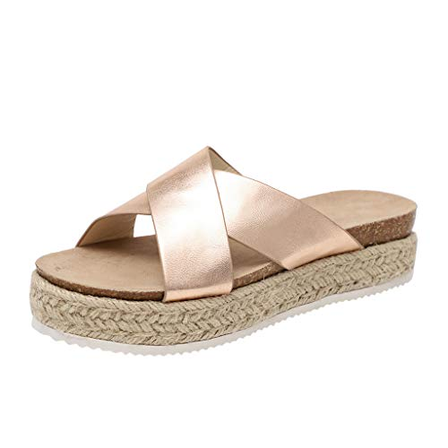 Respctful✿Slip On Wedge Sandals for Women Comfortable Open Toe Espadrilles Criss Cross Leather Summer Slides Platform Shoes Gold