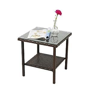 Amazon.com: Kinbor - Mesa de mimbre para patio o al aire ...