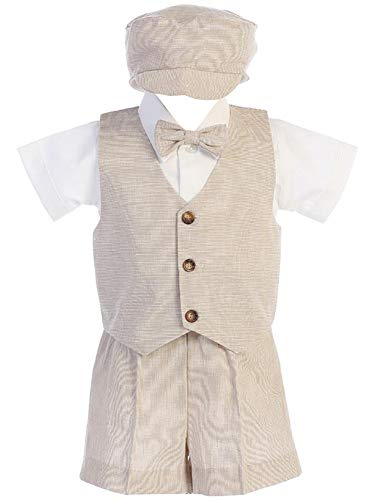 Khaki Baby Boys Cotton Linen Vest & Shorts Set for Easter Birthday Wedding Summer Special Occasion USA 4T