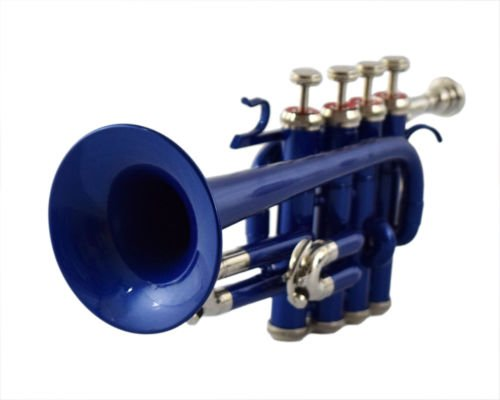 GIFT FOR SON PICCOLO TRUMPET Bb PITCH BLUE COLORED WITH FREE CASE AND MP by SAI MUSICAL