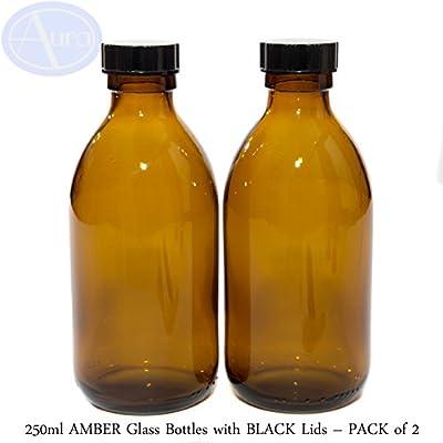 250 ml botellas de cristal ámbar con negro tapas – Pack de 2