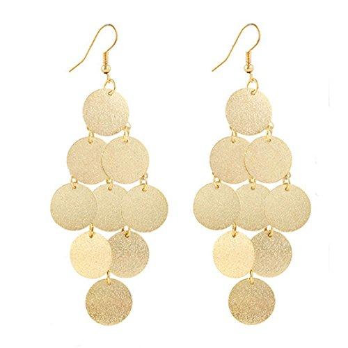 Circular Shape Dangle (Vanvler Women Alloy Circular Dangle Earings Eardrop Jewelry (Gold))