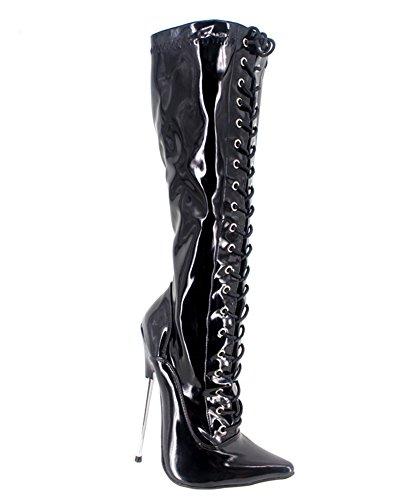 Wonderheel stiletto metal heel pointed toe lack langschaft stiefel knee high boots