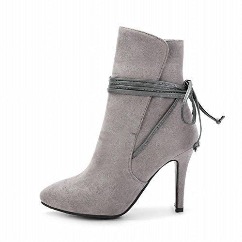 Charme Voet Dames Mode Spitse Neus Lace Up Hoge Hak Korte Laarzen Grijs