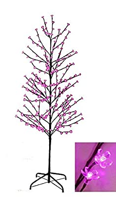 6' Enchanted Garden LED Lighted Cherry Blossom Flower Tree - Pink Lights