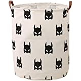 HIYAGON Large Sized Storage Baskets with Handle,Collapsible & Convenient Home Organizer Containers for Kids Toys,Baby Clothing (Black Bats)