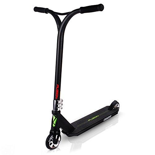"UPC 858267005401, 2016 Fuzion Z375 Pro Scooter - All New Design - 110mm Aluminum Core 7 Spoke Wheels - 4.5"" X 20.5"" Dimensions -All Aluminum Fork - 75% Headtube Cutout - Strangler Clamp - Y-Bars 22"" x 21"" (Jet Black)"