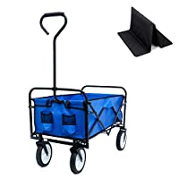 "EiioX Garden Cart-Upgrade Foldable Beach Wheelbarrow,Capacity of 150 lbs,40.5"" L X 21.26"" D X 46"" H"