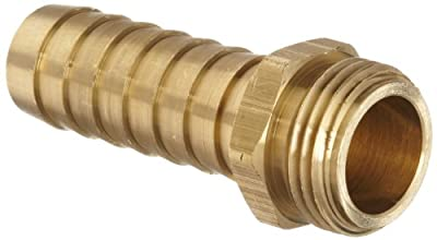 "Dixon BLS617 Brass Hose Fitting, Long Shank Coupling, 3/4"" GHT Male x 3/4"" Hose ID Barbed"