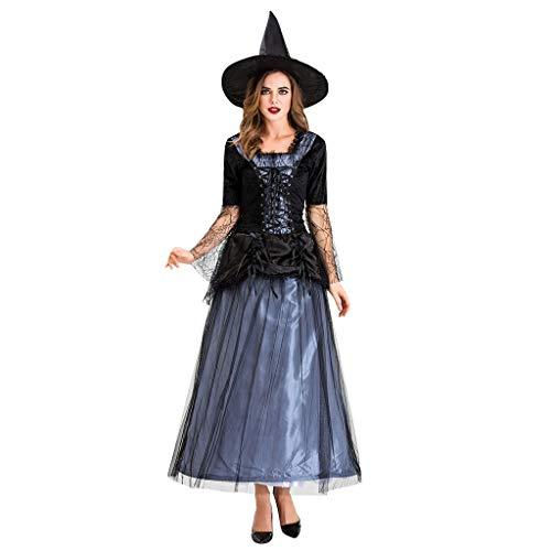 LODDD Women Halloween Cosplay Costume Black Gauze Witch Dress Night Ghost Costume Dress