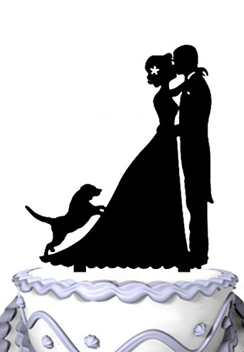 Meijiafei Wedding Cake Topper - Bride and Groom with Peking Dog Silhouette Family Cake Topper