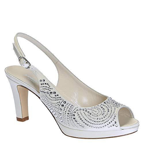 Leonardo Shoes Women's White Satin Slingbacks Shoes - Size: 10 US