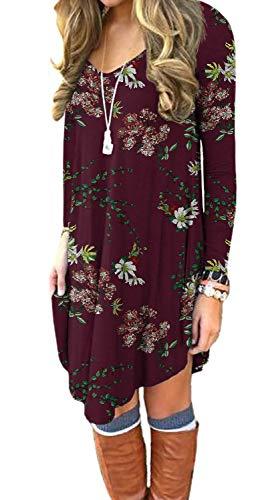 DEARCASE Women's Long Sleeve Casual Loose T_Shirt Dress Floral Wine Red Large