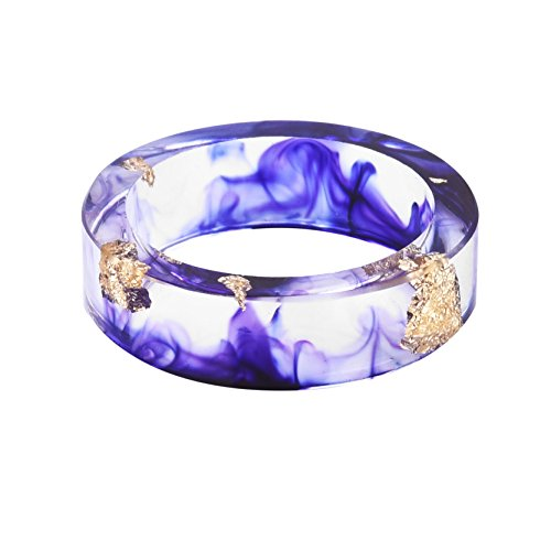 New Arrival Handmade Purple Violet Color with Gold Paper Transparent Resin/Plastic Women/Men's Charm Ring,Come with Gift Box -