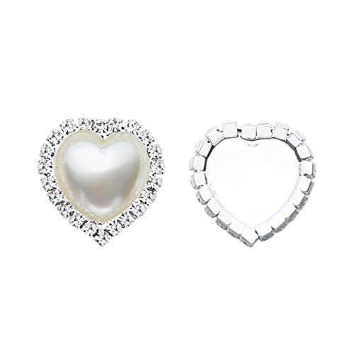Roseblyn 20PCS 22X20mm Heart Pearl Rhinestone Button Embellishment Flat Back For Craft (Ivory)