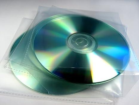 Paquete de 100 fundas individuales para CD/DVD, 80 micras, transparentes