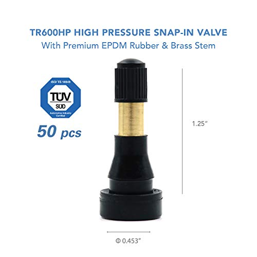 - CK Auto TR600HP High Pressure Brass Rubber Snap-in Tire Valve Stem (50pcs/Bag)