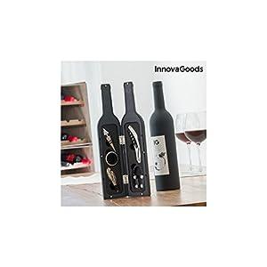 InnovaGoods, Cofanetto di Accessori per Vino a Forma di Bottiglia, Acciaio Inox, Nero, 7x 7x 33cm 12