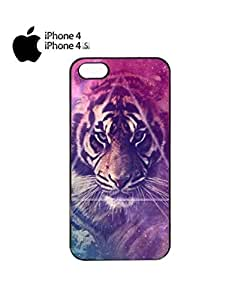 Galaxy Tiger Animal Leopard Mobile Cell Phone Case Cover iPhone 4&4s Black