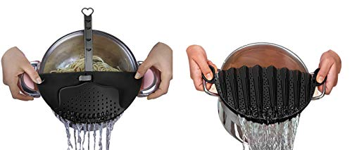 DUXU Kitchen Strainers - Pack of 2 BPA-free Clip-On Colander Sieve Snaps for Bowls, Pots & Pans - Food Drainers for Pasta, Spaghetti, Potatoes & Vegetables - Dishwasher Safe Cooking ()