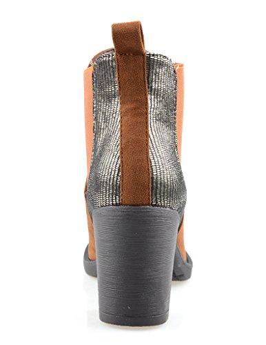 Eyekepper moda mujer elástico antideslizante en botin de tacon Chunky paneles TAN Petwer