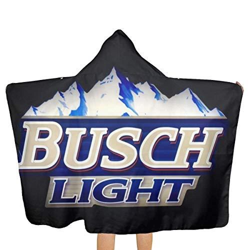 Busch Hood - Cotton Hooded Towel Busch Light Beer Fast Drying Beach Towel for Beach, Bath Or Pool