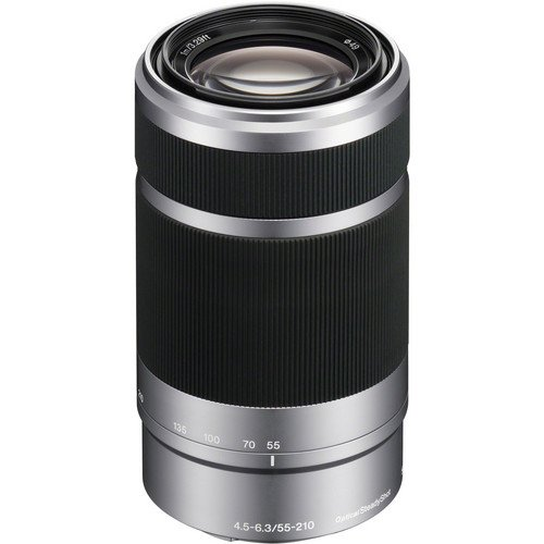 Sony E 55-210mm F4.5-6.3 OSS Lens for ILCE-7, ILCE-7R, ILCE-7S, NEX-3, NEX-5, NEX-C3, NEX-5N, NEX-7, NEXF3, NEX5R, NEX-6, NEX-3N, NEX 5T, A3000, A5000, A6000, A3500, A5100 Sony E-Mount Cameras (Silver) + Pixi-Battery Accessory Bundle