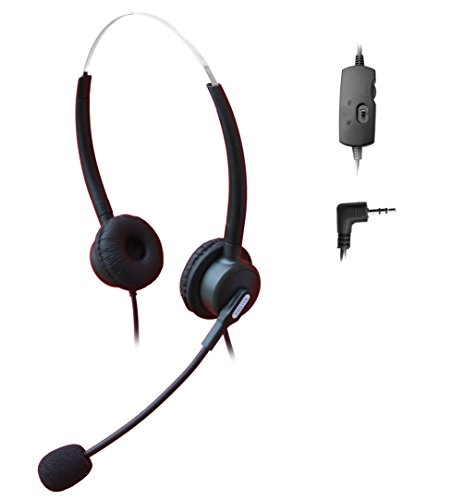 Comdio 2.5mm Call Center Telephone Headset Headphone with Mic + Volume Mute Controls for Panasonic AT&T ML993 992 984 E5945/E5640/EP5632/E5923B IP and Cordless Phones with 2.5mm Headset Jack (H203VP8)