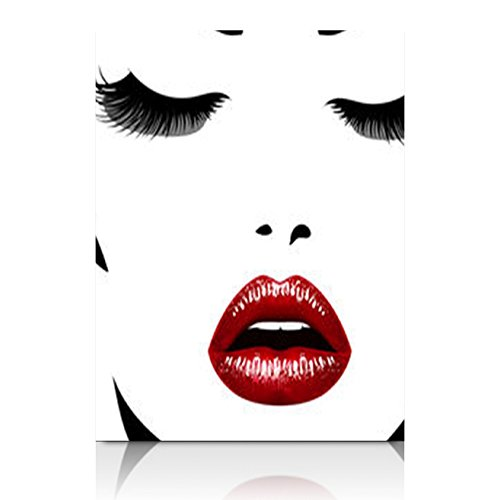 Canvas Prints Wall Art for Living Room Womans Face Realistic Red Black Beauty Fashion Eyelash Lips 12x12 Inches Painting Artwork Framed Stretched Decoration Ready to Hang ()