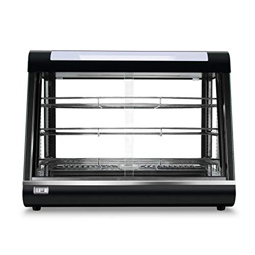 Mandycng Warmer Cabinet Kiosk Top Food Court Restaurant Buffet Preservation Heated Food Pizza Burger Chicken French Fried Display Case Glass, Black