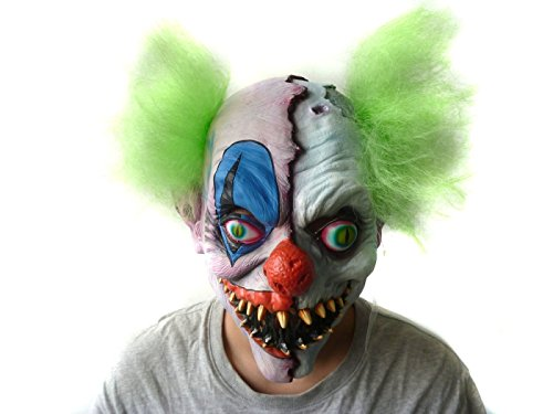 Twisty The Clown Girl Costume (Scary Halloween Latex Mask Clown,Creepy Cosplay Bloody Zomie Ghost Mask With Hair for Adults,Halloween Costume Party Props Masks (green hair))