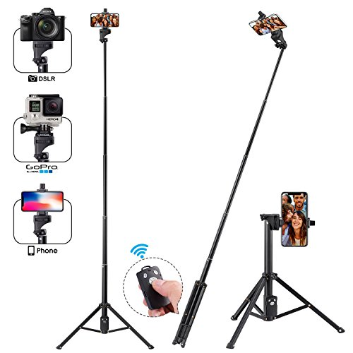 Apsung Selfie Stick Tripod, 54-Inch Extendable Selfie Stick with Wireless Remote,Portable Phone Tripod Compatible with All Kinds of Smartphones/Action Camera/Digital Camera by Apsung