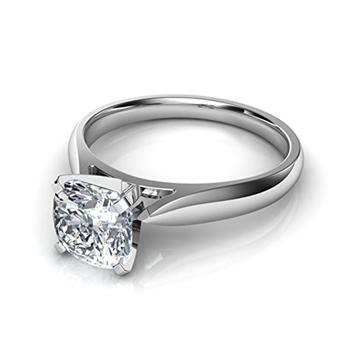 (luxrygold 1.50Ctw Cushion Cut Clear CZ Diamond 14K White Gold Pl Cathedral Solitaire Engagement Ring)