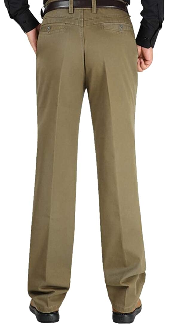 GAGA Mens Business Straight Fit Signature Khaki Lux Cotton Stretch Pants